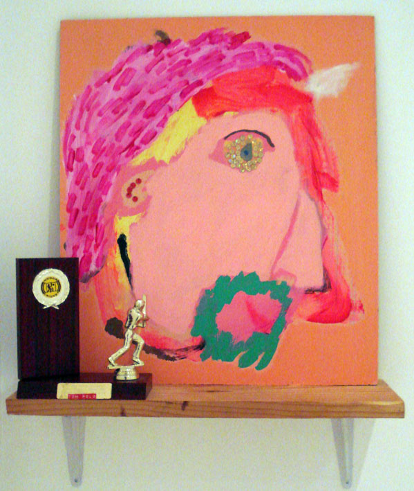 TOM POLO  What have you won for me lately? 2007  mixed media on board, found trophy & shelf