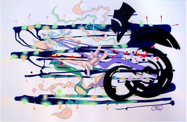 PHILL WILLIAMS  Hit Me Baby My Third Eye  2007 acrylic on paper 59 × 94 cm