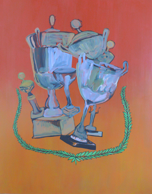 GEOFF NEWTON  Trophy Painting  2008 acrylic on polycotton 213 × 168 cm