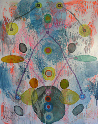GEOFF NEWTON   Finger Painting  2008 acrylic on polycotton 213 × 168 cm