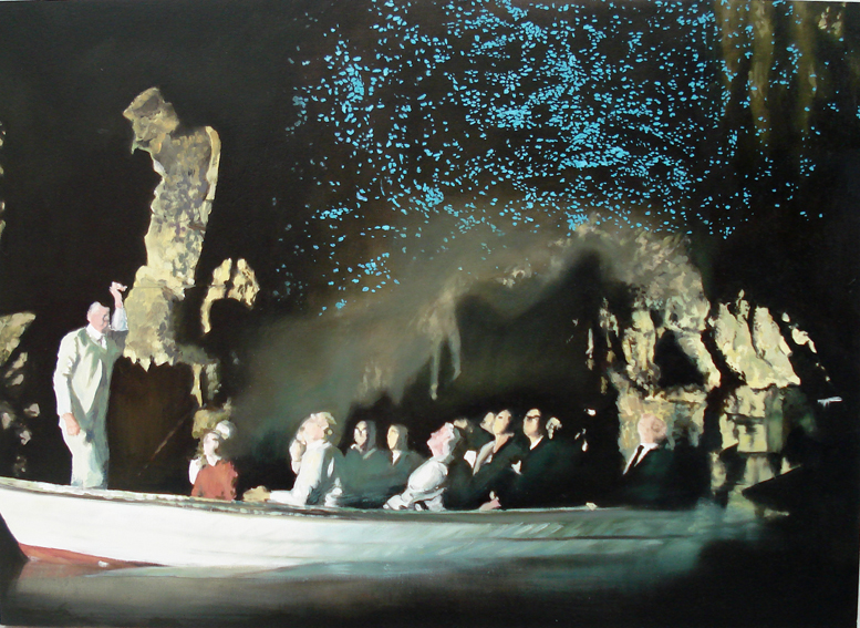 ANNA KRISTENSEN  Glowworm Grotto  2008 oil on board 40 × 55 cm