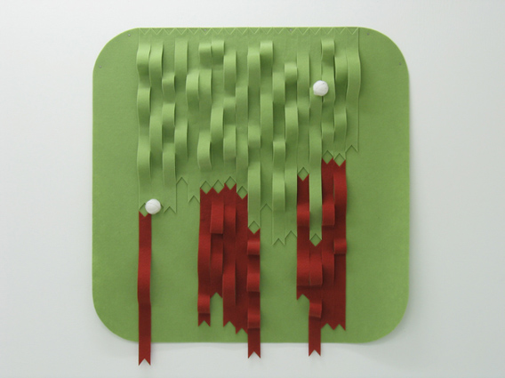 NICK SELENITSCH  Stuck   (green)  2007 Nylon carpeting 'prelude', ping pong balls, Velcro 91 × 91 × 7 cm