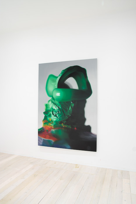 Installation view of Brett East's paintings