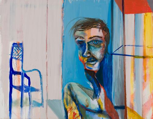 BRADD WESTOMORELAND  Blue Boy, Blue Chair 2009 oil on canvas 91 ×71 cm