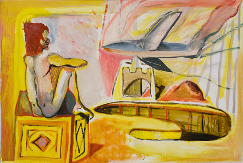 BRADD WESTOMORELAND  Red Head, Plane and Empty Pool  2008 oil on canvas 127 × 86 cm
