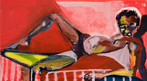 BRADD WESTOMORELAND  Red Reclining Boy 2009 oil on canvas 46 ×25 cm