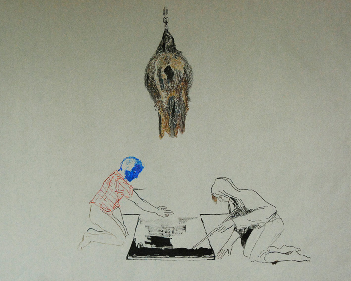 CLARE MILLEDGE  Looking for Moles  2008 ink on paper 48 × 62.5 cm