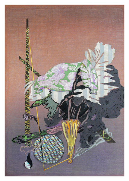 MELODY WILLIS  Palm Beach Mannerism  2010 acrylic, pencil and collage on linen 102 × 170 cm