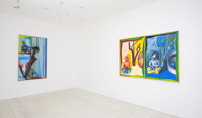 Installation view of Bradd Westmoreland's paintings