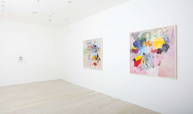 Installation view of Jelle Van Den Berg's paintings