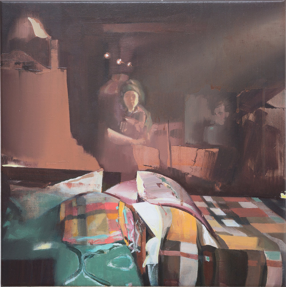 DAVID RALPH  Guardian Angel 2018 oil on canvas 40 × 40 cm