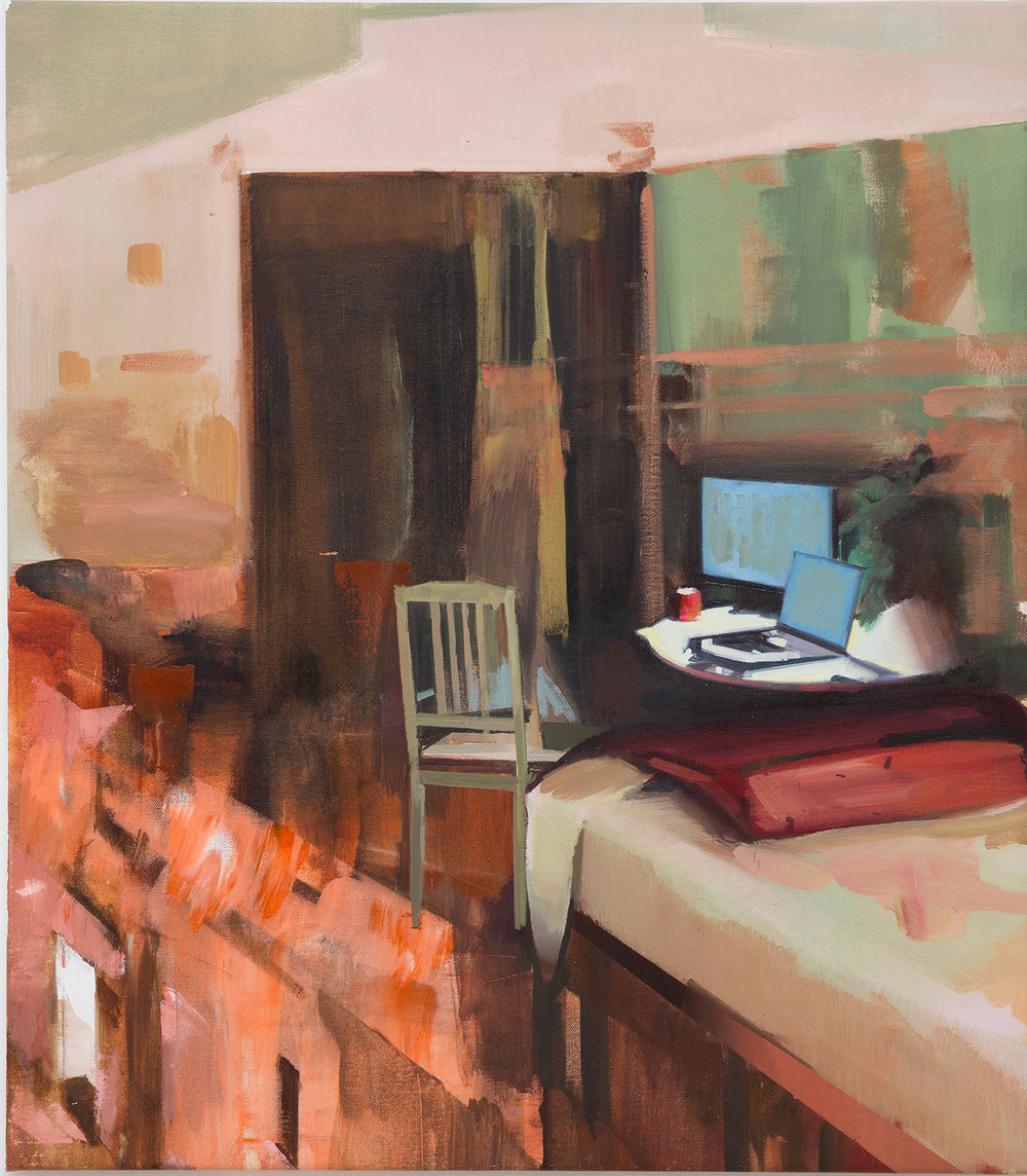DAVID RALPH  Uncertain Future 2018 oil on canvas 72 × 63 cm