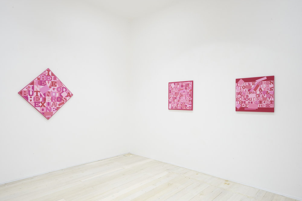 Installation view of Christophers Dean's paintings