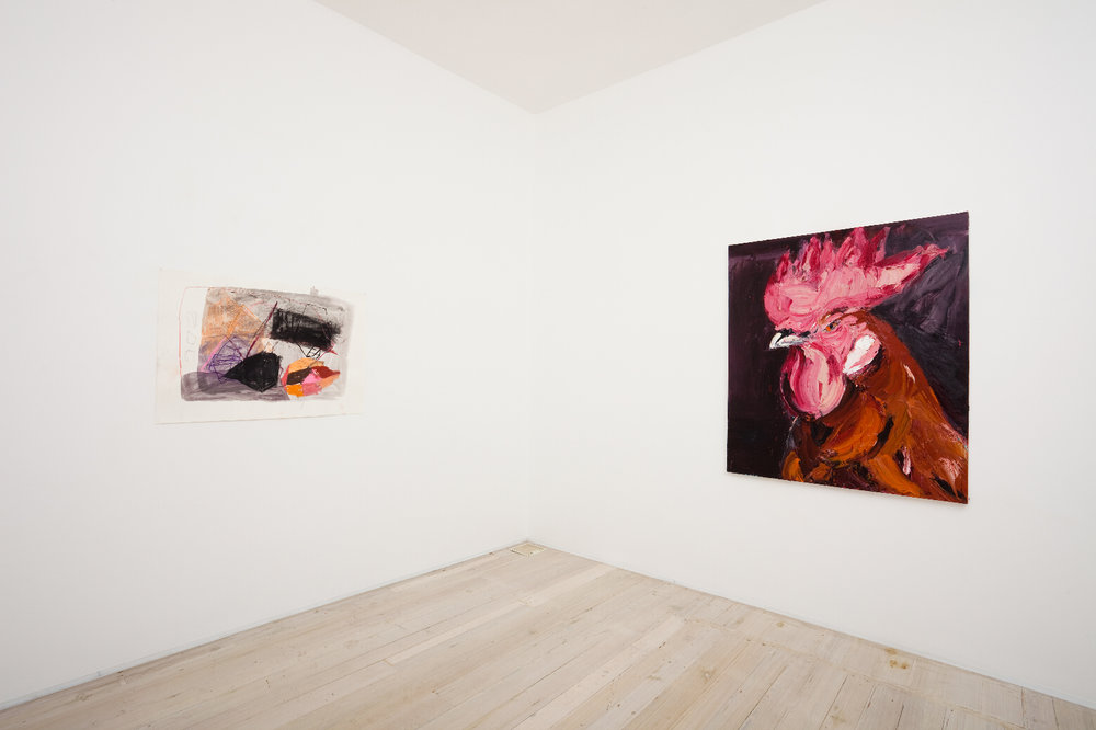 Installation view of Belem Lett's (left) and Craig Waddell's (right) paintings