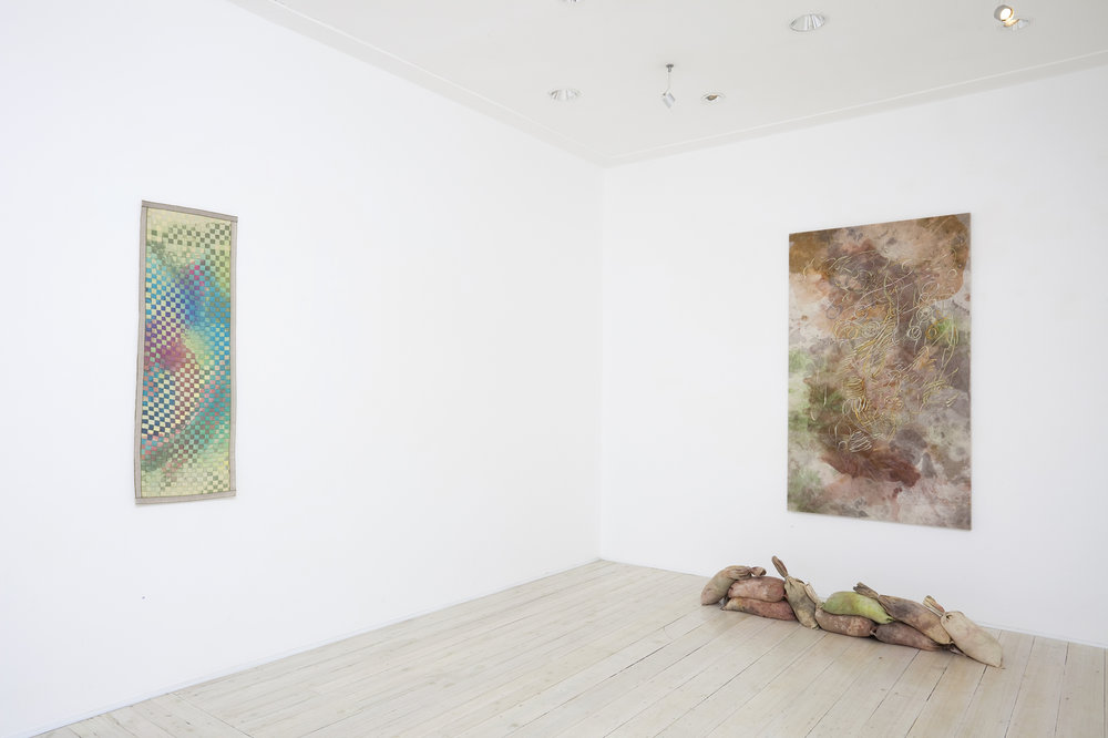 Installation view of Melody Willi's paintings and sculpture