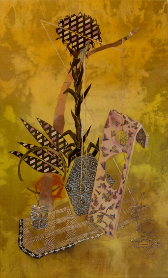 MELODY WILLIS  Garbage and flowers  2011  acrylic, pencil and collage on linen 152.5 × 91.5 cm