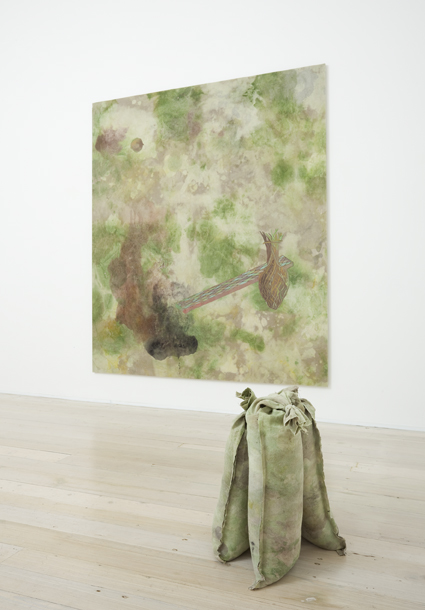 MELODY WILLIS  Greenwash  2011  acrylic, pencil and collage on linen 210 × 183 cm (wall) & linen and bagged Sydney sand 50 × 50 × 35 cm (floor)
