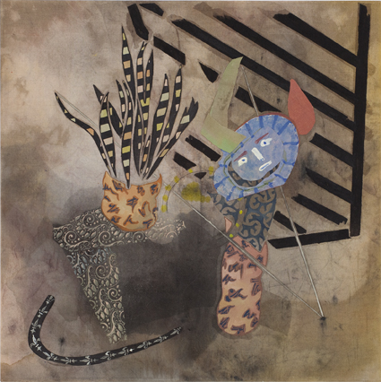 MELODY WILLIS  Minotaur and Mother Tongue  2012 acrylic, pencil and collage on linen 95 × 95 cm
