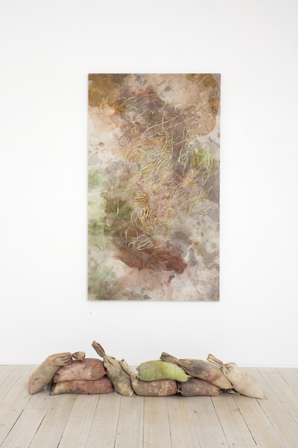 MELODY WILLIS  Tint by weather  2012  acrylic, pencil and collage on linen 183 × 107 cm (wall) & linen and bagged Sydney sand 45 × 162 × 25 cm (floor)