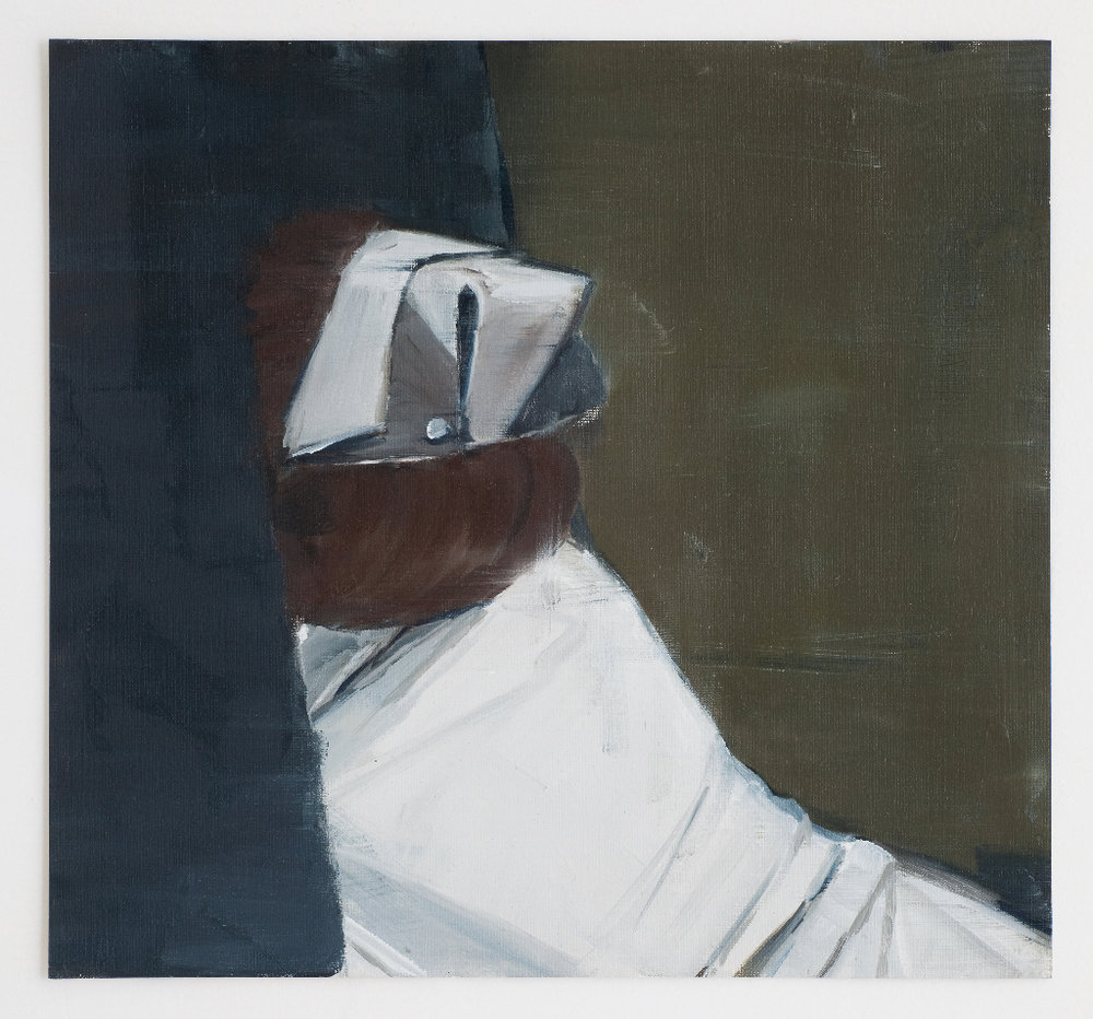 JELENA TELECKI  Disappearing nurse  2012 oil on canvas paper 34 × 43 cm