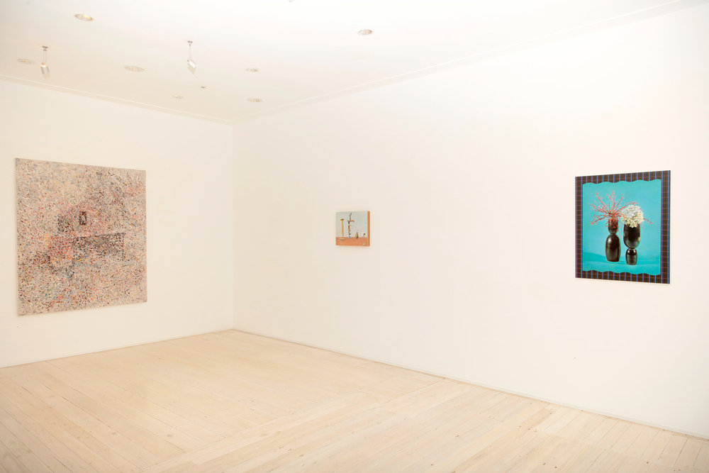 Installation view of Jelle van den Berg's and Anna Kristensen's paintings