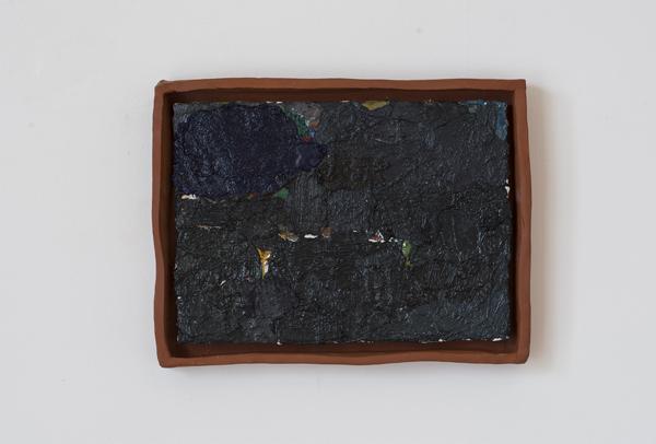 JAKE WALKER  Untitled  2009–14 oil on linen with earthenware frame 24 ×34 cm
