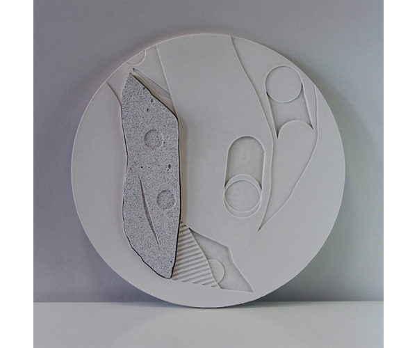 TARIK AHLIP  Slow Death to the Patient  2015 plaster and carved lightweight concrete Diameter 40 cm