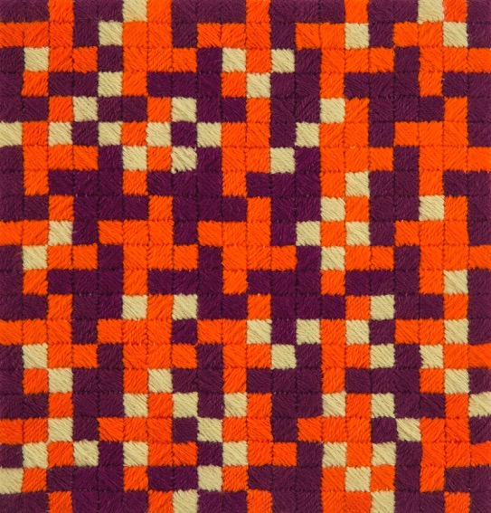 SUSAN BURET  Lepidoptera #2  2015 wool on tapestry mesh 24.5 × 24.5 cm