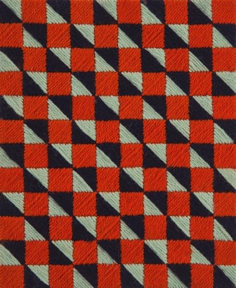 SUSAN BURET  Lepidoptera #8  2014 wool on tapestry mesh 24.5 ×20 cm