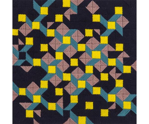 SUSAN BURET  Lepidoptera #3  2014 wool on tapestry mesh 33 ×33 cm