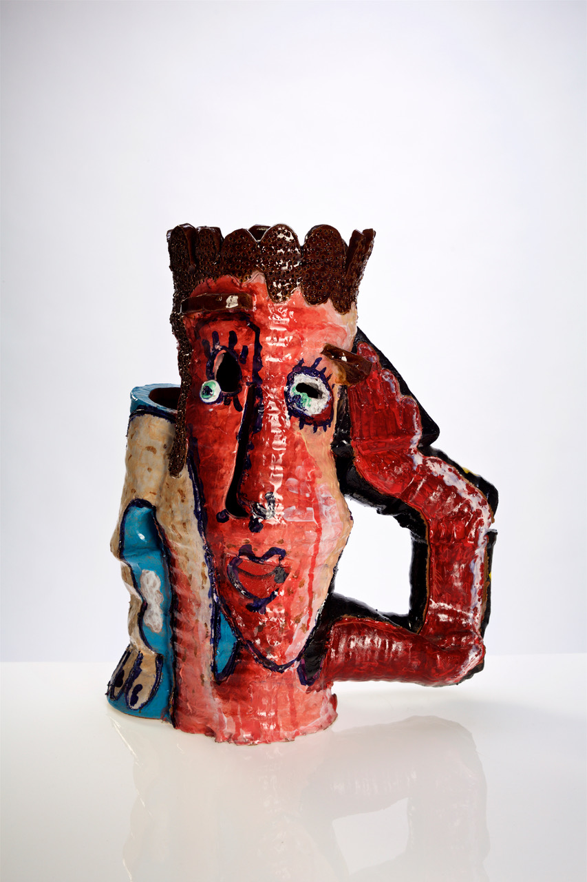 ANGUS GARDNER Pink Boy with Arms  2018 46 x 37 x 18 cm Earthenware & glaze