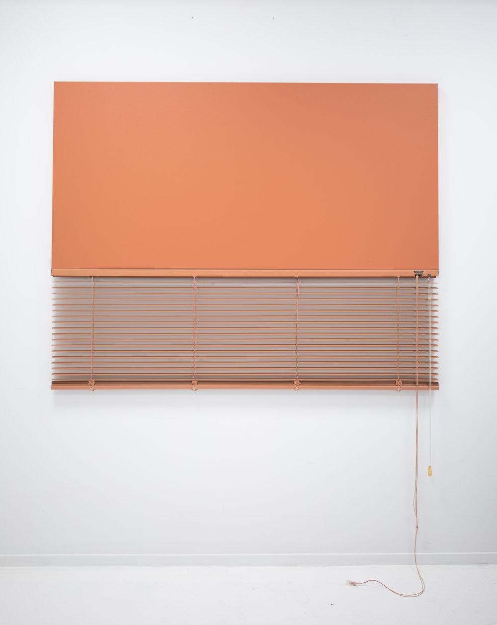 ED BATS  Blind Mono (Brick) , 2018 Acrylic, canvas & venetian blind. 145 x 78 cm