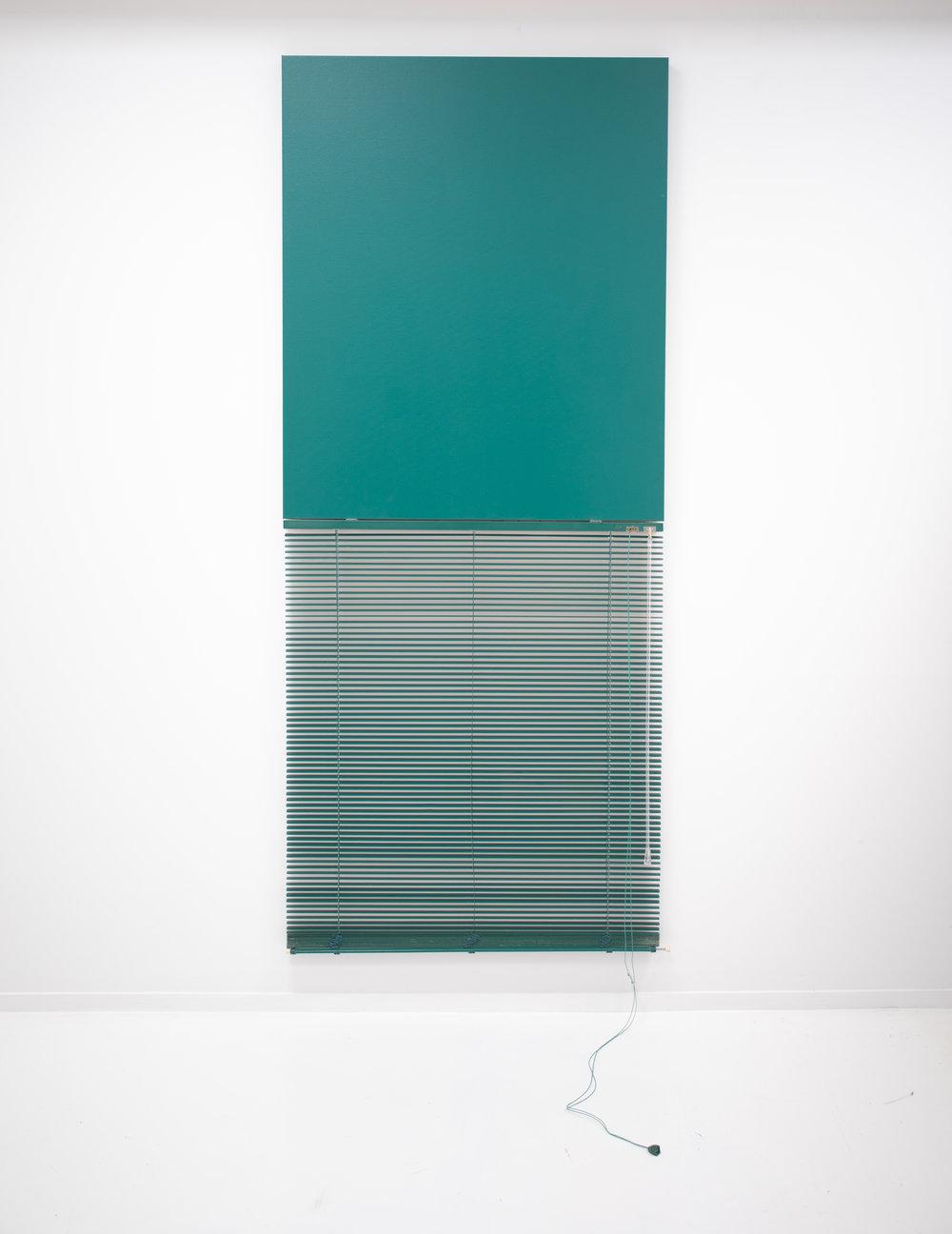 ED BATS Blind Mono (Teal), 2018  Acrylic, canvas & venetian blind  83.5 x 83.5 cm