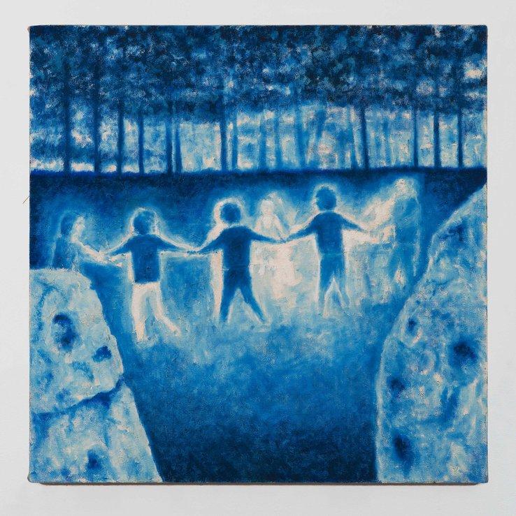 PETER ALWAST  The Dance  2017 oil on Hessian 80 x 80cm
