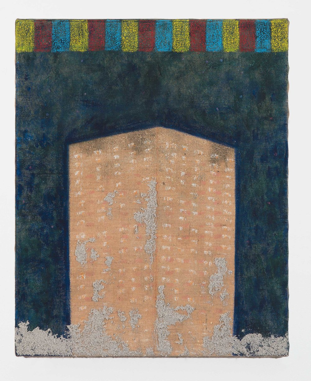 PETER ALWAST  Finance Tower  2018  oil, oil pastel and pumice gel on hessian 45 x 70cm