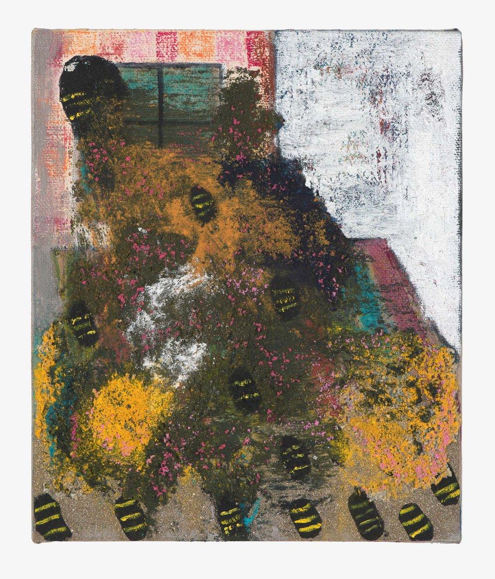PETER ALWAST  The Swarm  2018 oil, oil pastel, glitter paper, pumice gel on linen,  25 x 35cm