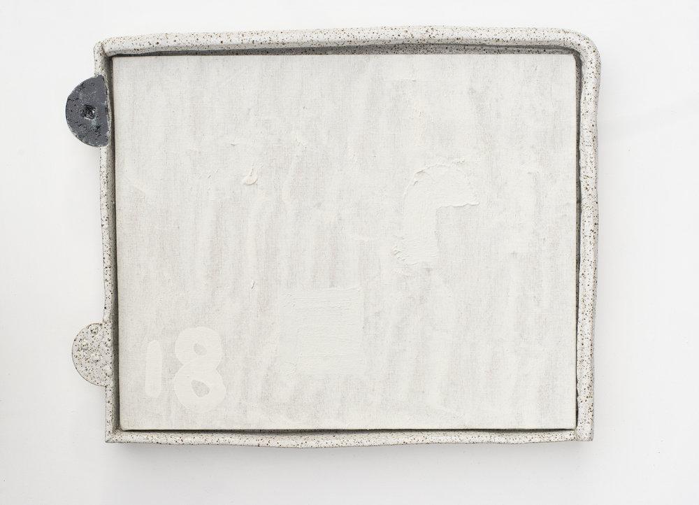 #0091  (2018) acrylic on linen, glazed stoneware frame 43.5 x 56 x 5 cm
