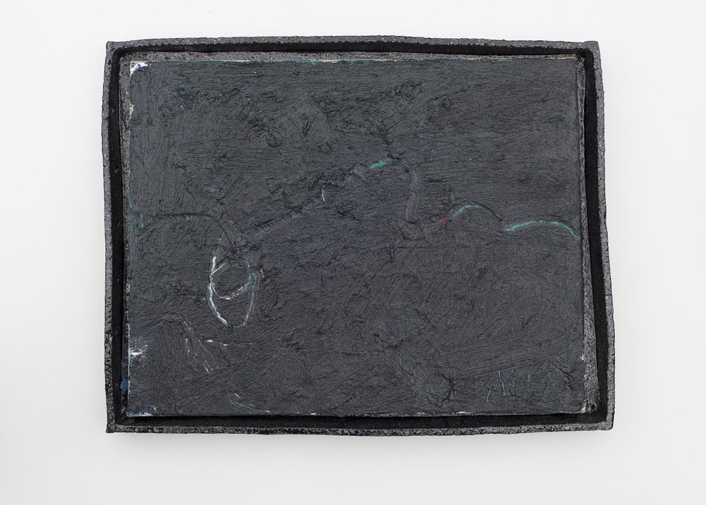 #0106  (2018) oil on linen, glazed stoneware frame 40 x 51.5 x 5 cm