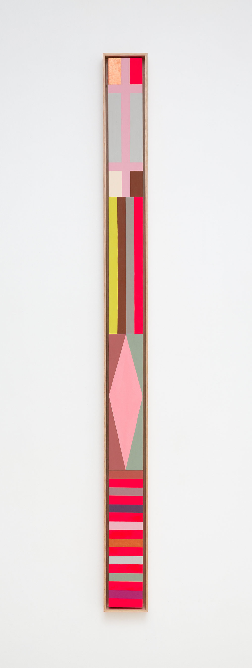 LOUISE TUCKWELL  Simultan  2018 acrylic on board 163 x 13cm