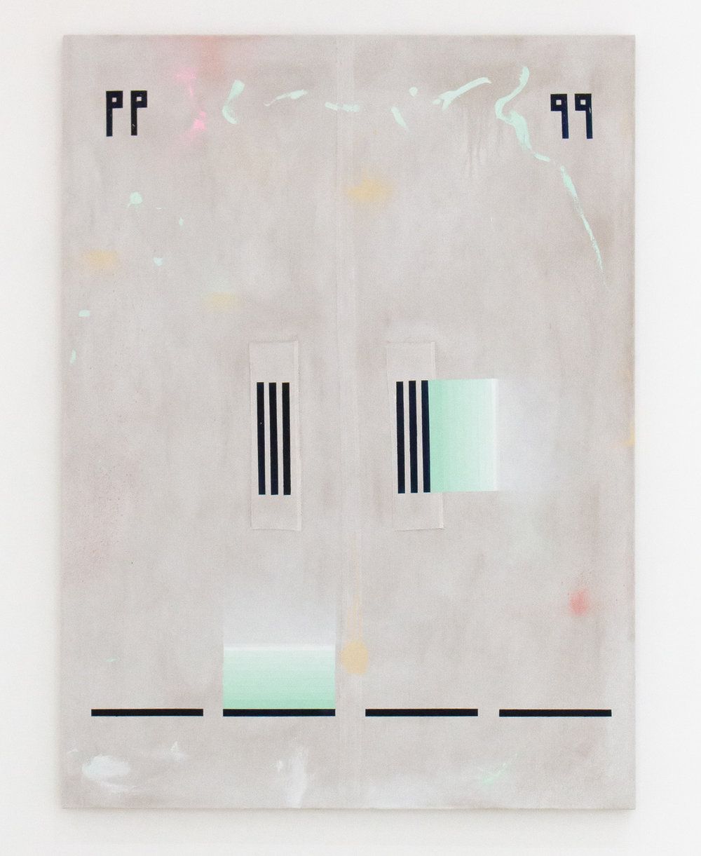 SARAH crowEST  Appliqué #6 (pause)  2018 linen, gesso, acrylic paint, linen and cotton thread 137 × 102 cm