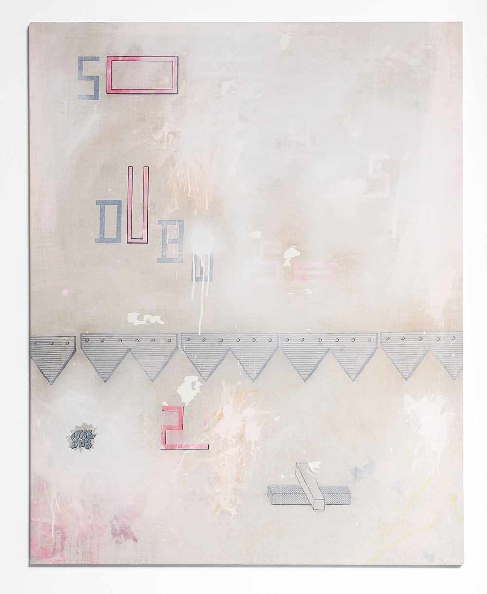 SARAH crowEST  SO DUB  2018 (#2 peach) acrylic on linen 127 × 102 cm