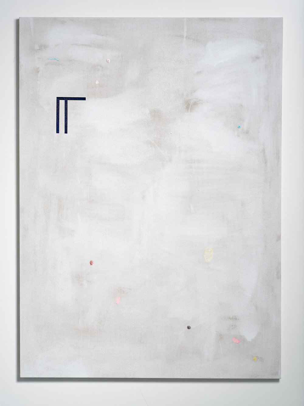 SARAH crowEST  Appliqué #5 (rogue dust embroidery)  2018 linen, gesso, synthetic polymer paint, linen and cotton thread 137.2 × 101.6 cm