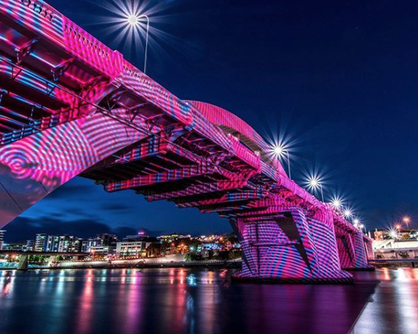 In celebration of The Brisbane International,  JOHN ASLANDIS  Sonic No. 61 was projected onto the William Jolly Bridge from 2- 6 January, 2018