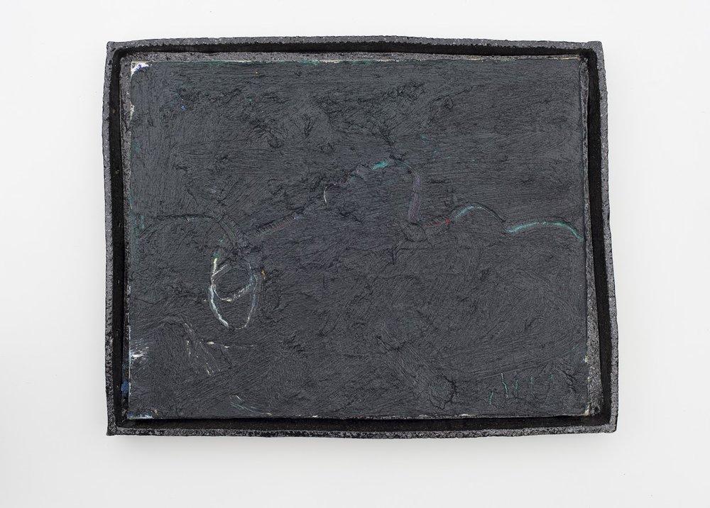 JAKE WALKER  #0106  (2018) oil on linen, glazed stoneware frame 40 × 51.5 × 5 cm