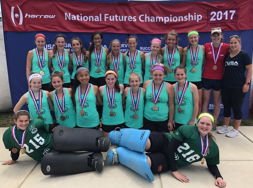 Crochetiere's 1st Place Team at USA Field Hockey's U14 Futures' Championships. Top row, third from the left.