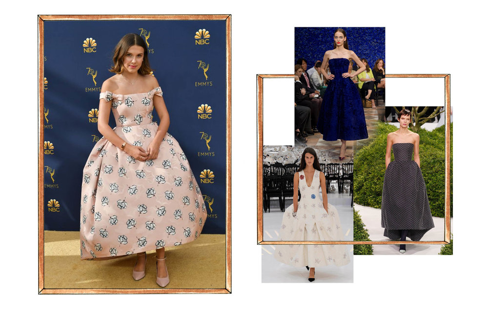 Left: Millie Bobby Brown in Calvin Klein. Right: Clockwise from top: Raf Simmons for Christian Dior Fall 2012 Couture, Raf Simmons for Christian Dior Spring 2013 Couture, Raf Simmons for Christian Dior Fall 2014 Couture