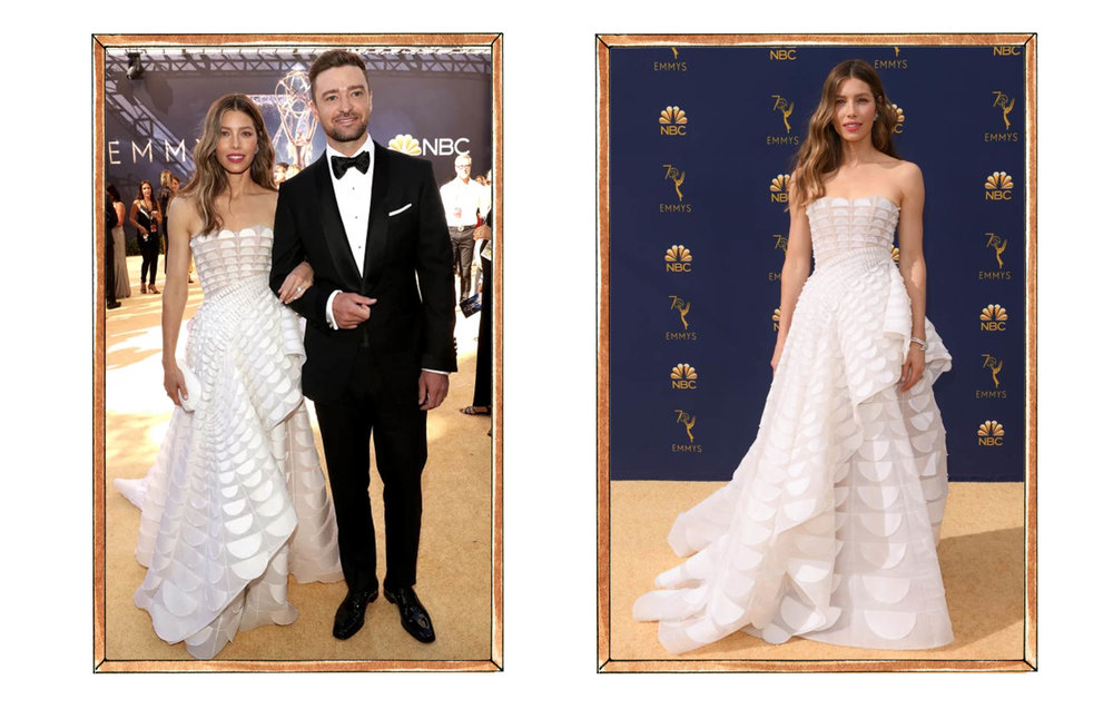 Jessica Biel in Ralph and Russo, Justin Timberlake in Tom Ford
