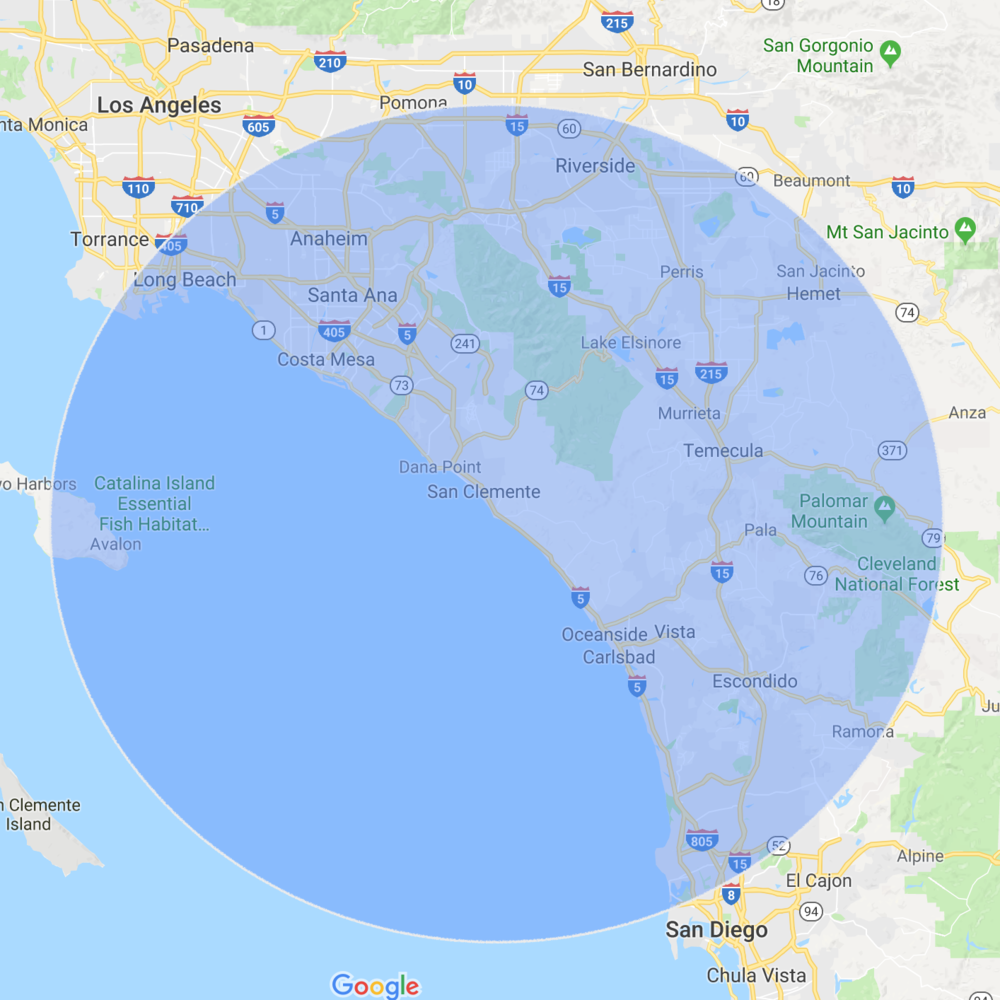 The 50 mile evacuation area with 8.5 million Californians living in it.