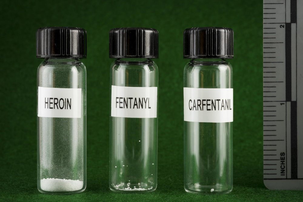 Left to right -a lethal dose of heroin,fentanyl and carfentanil.  Image: WOSU Public Radio