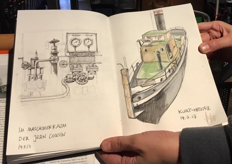 Mein Skizzenbuch am Originalschauplatz
